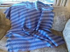 Vintage Pendleton Purple Herringbone Weave100% Wool Fringe Stadium Blanket Throw