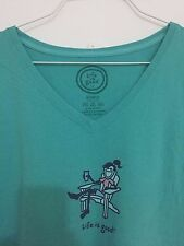 "LIFE IS GOOD WOMENS LIGHT GREEN ""Relax"" t-shirt sz XL Short Sleeve"