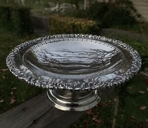 Large Vintage Silver Plated Tazza Footed Bowl Compote Stand Hecworth Tray