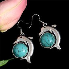 Women's Luxury Tibetan Silver Turquoise Dolphin Party Earrings Stud Jewellery