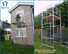 "4.5m DIY Scaffold Tower & Boards (4' x 4 'x 14'3"" WH) Galvanised with Boards"