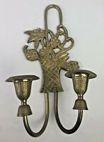 Vintage Hampton Brass Wall Double Candle Sconce. Flower Basket Design. India