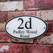 MODERN HOUSE SIGN DOOR NUMBER ADDRESS PLAQUES PERSONALISED GLASS EFFECT  'OVAL'