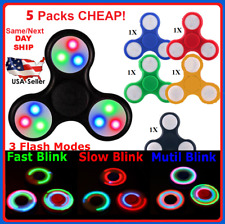 LOT OF 5 PACK Tri Fidget Hand Finger Spinner LED Flash Light Up EDC 3 Buttons