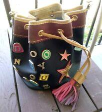 Vintage Dooney & Bourke Charm Drawstring Bucket Bag Black / Burgundy