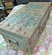 Antique Metal trunk Box Embossed Design uncommon Lock & Hardware C 1910 travel