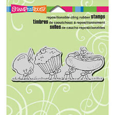 Stampendous LUNCH LINE Cling Stamp CRN261 Ants Barbeque Hot Dog Cupcake Apple