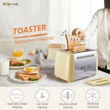 680W 2 Slices Double Sided Baking Toaster Crumb Tray Bread Bagel Kitchen Tools