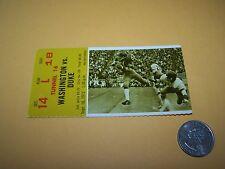 1972 WASHINGTON HUSKIES vs DUKE BLUE DEVILS COLLEGE FOOTBALL GAME TICKET STUB