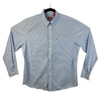 Izod Mens L Button Down Shirt Long Sleeve Cotton Striped Blue White