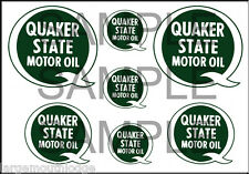 VINTAGE STYLE 1 3/4 AND 1/2 INCH QUAKER STATE OIL DECAL STICKER