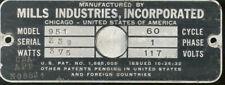 1946 Mills Constellation 951 serial number 358 identification plate