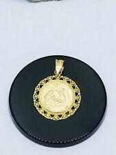 14K Solid Yellow Gold Baptism Medal Pendant -Round Necklace Charm 19 MM