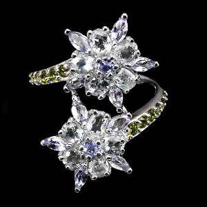 Oval Aquamarine 4x3mm Chrome Diopside Tanzanite 925 Sterling Silver Flower Ring