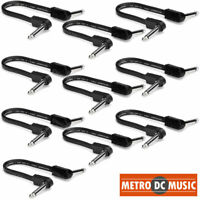 """10-Pack Hosa 6 inch Flat Patch Pedal Cable 1/4"""" Nickel Right-Angle Low Profile"""