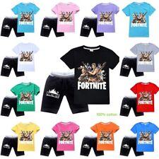 2Pcs Kids Boys Fortnite Outfits 100% Cotton Top T-shirt Shorts Set Sport Suit AU