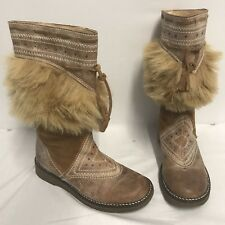 Vintage Dolcis Native Indian Leather Suede Boots Fur Tan Brown 3 36 Festival