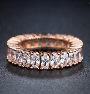 18k Rose Gold GP Eternity Ring made w Swarovski Crystal Stone Anniversary Band