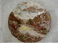Collectible Brown Staffordshire Village Scenic Plate - Made in England