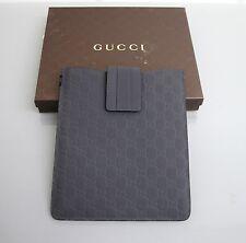 New Authentic GUCCI GG Monogram Guccissima Leather iPad Case Gray 256575 1370