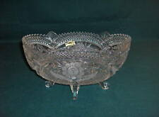 Vintage German Anna Hutte Lead Crystal Rose Footed Bowl Mint NICE
