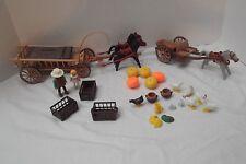 vtg lot of 60 piece set Playmobil 3735 Harvest Hay Wagon Pioneer Western EXTRA