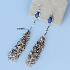 Boucles d`Oreilles Doré Perle lapis lazuli Pompon Metal Fil Long Original BB 11