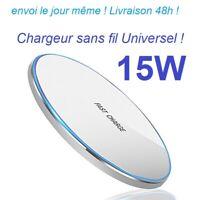 Argent 15W Chargeur Sans Fil Induction iPhone 8 10 11 S9 S8 TWS Wireless LED