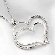 Platinum Plated Pendant Heart Pendant Necklace Made with Swarovski Crystal N875