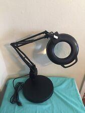 """ELECTRIX  Round Magnifier Light, LED, 30"""" Arm Length, 1.75x, 1050 Lumens, Black"""