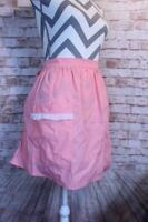 Vintage Mid Century Pink Half Apron Pocket Handmade 50's Ruffle Pockets