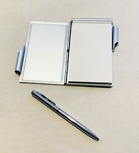 Mini Pocket Slimline Silver Note Pad With Pen Jotter Portable Stainless Steel
