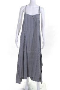 Malia Mills Womens Striped Sleeveless V-Neck Swing Maxi Dress Blue Size M