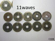 Edo / Japanese 10 pcs old coin / antique / kanei tsuho / 4mon(11wave)   #C104
