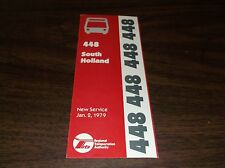January 1979 Chicago Rta Route 448 South Holland Bus Schedule