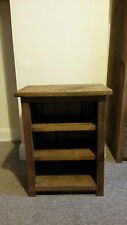 NEW SOLID WOOD RUSTIC PLANK BEDSIDE TABLE WOODEN CABINET WITH SHELVES