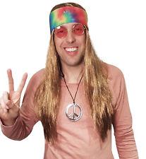Hippie Wig with Tie Dye Bandana, 60's, 70's Fancy Dress Hippy Wig