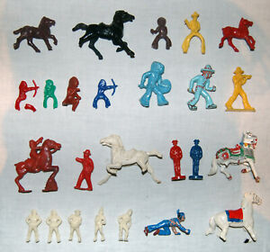 Konvolut, Kunststofffiguren, Hartplastik, Wundertütenfiguren, 1950er, Bastelware