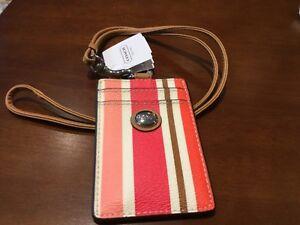 NWT COACH Peyton Multi Stripe Lanyard ID Card Case Badge Holder #62415