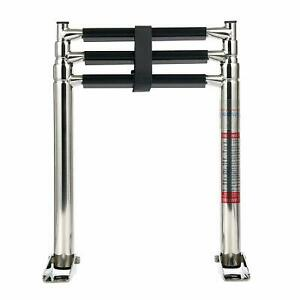 Stainless Steel Telescoping 3 Steps Boat Ladder Swim Steps Folding Ladder 34.5""