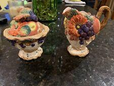 Fitz & Floyd Fruit Design Cream & Sugar Set (3 pieces) **Great Gift Idea**