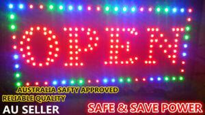 STATIC OPEN LED NEON SIGN LIGHT Plate for Business Shop Bar Restaurant 48X25cm