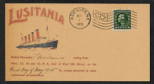 Lusitania Ship Advertisement Reprint With Orig. Period 1915 Stamp Shipwreck A98