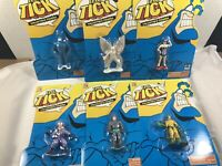 "LOT OF 6 THE TICK 3"" PVC HEROES - TICK ARTHUR MAID URCHIN BULLET CHAM - MOC"