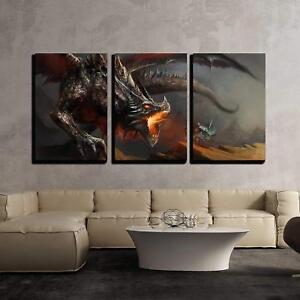 "Wall26 - Fantasy Scene Knight Fighting Dragon - CVS - 16""x24""x3 Panels"