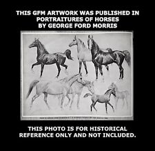 George Ford Morris 1938 Signed Published Estate Horse Art Drawing Original GFM