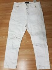 DIESEL INDUSTRY SIZE W 29 L 26 DESIGNER MENS WHITE TAPERED LOW JEANS TROUSERS