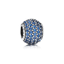 Genuino PANDORA grano de plata esterlina S925 Ale Azul Pave bola encanto - 791051NCB