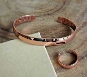 Solid Copper Magnetic Dome Bracelet & Ring Set Arthritis Men Women Cuff Ring