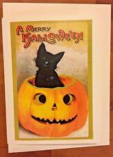 Greeting Card Samhain Black Cat In Pumpkin Halloween Jack O Lantern Victorian